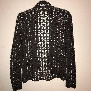 Taupe Crochet Cardigan Say What? Waterfall Medium